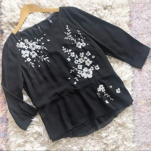 WHBM | Black Silver Floral Peplum Blouse Top 14